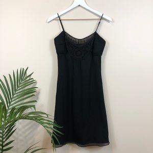 Express Black Slip Dress Macrame & Sheer Yoke 4 NWT